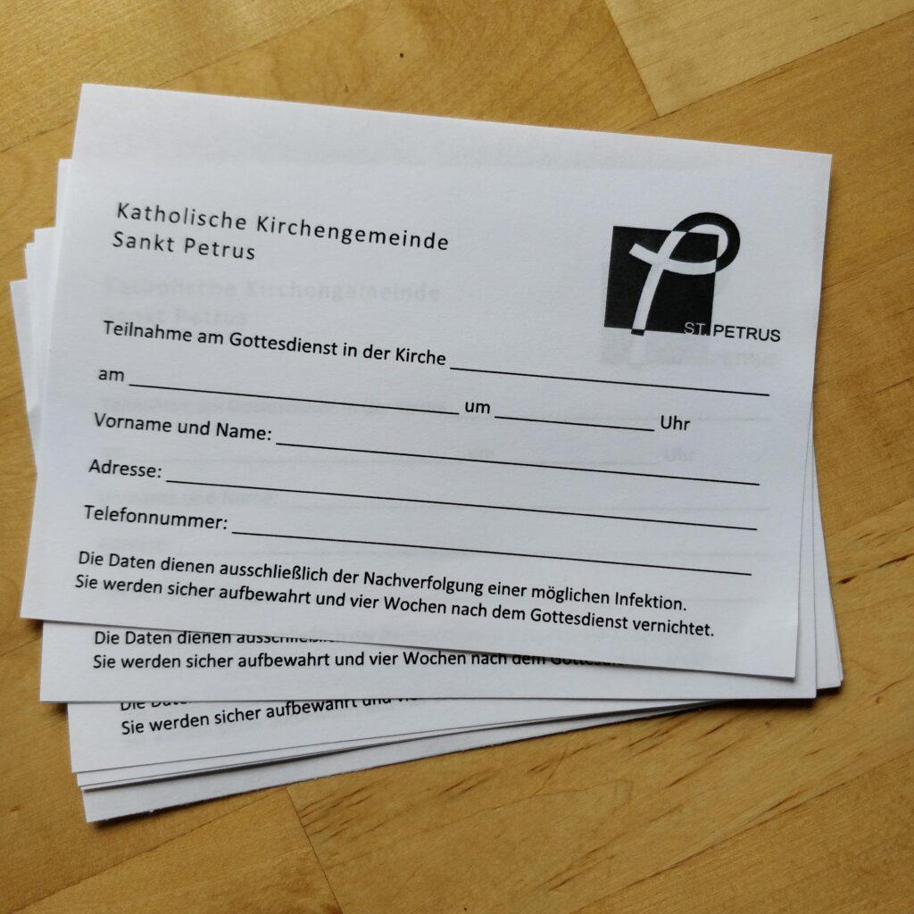 Formulare für die Rückverfolgbarkeit von Gottesdienst-Teilnehmenden