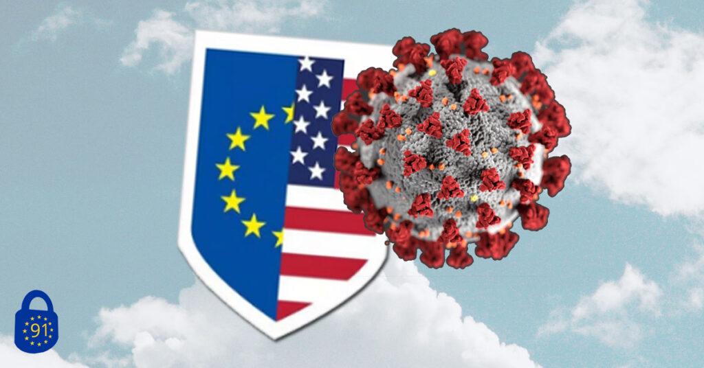 Das Privacy-Shield-Logo und der Corona-Virus – Symbole für das Jahr 2020.