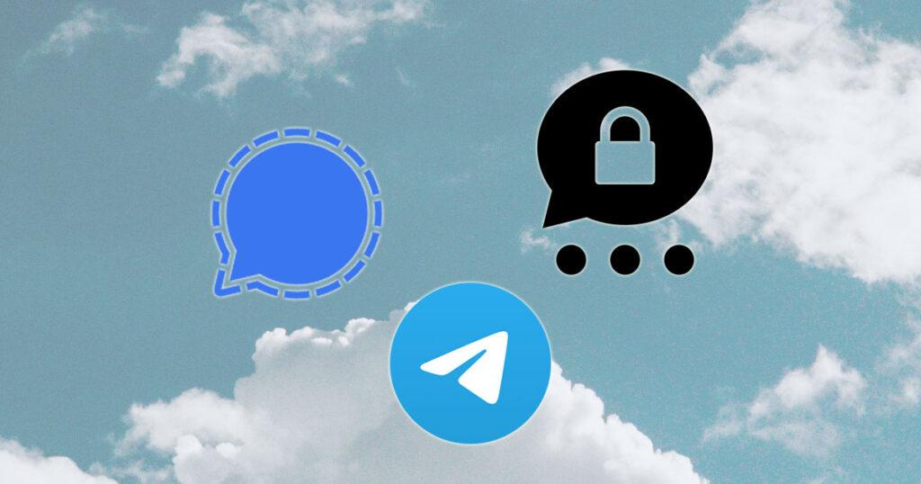 Die Logos von Signal, Telegram und Threema (v.l.n.r.)