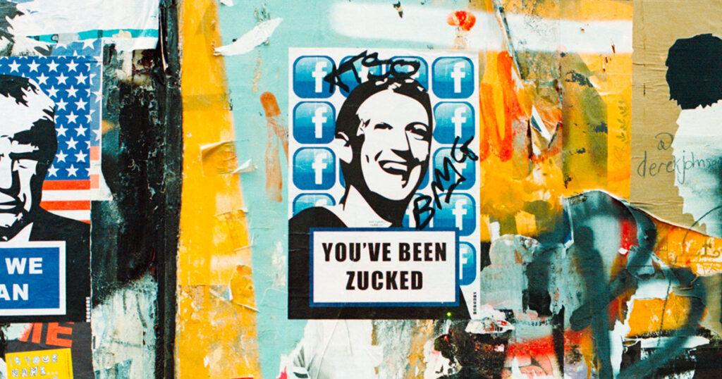 Streetart mit Stencil von Facebook-Gründer Mark Zuckerberg mit dem Slogan »You've been zucked«