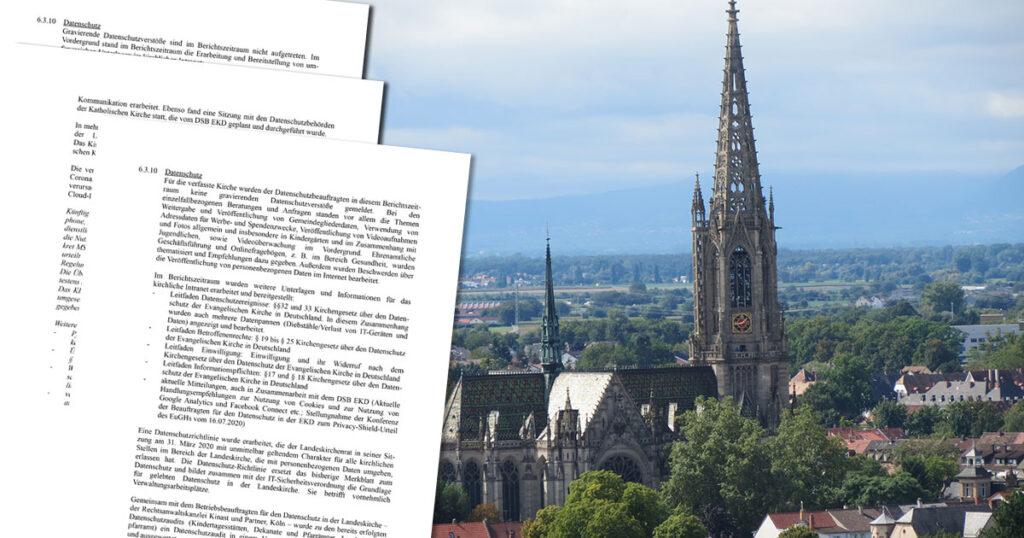Die Speyerer Gedächtniskirche ist die Hauptkirche der Kirche der Pfalz – sie hat den höchsten deutschen Kirchturm westlich des Rheins zwischen Köln und Straßburg, was allerdings mit Datenschutz nichts zu tun hat. (Bildquelle: AnRo0002 (Wikimedia Commons), CC0; bearbeitet und montiert)
