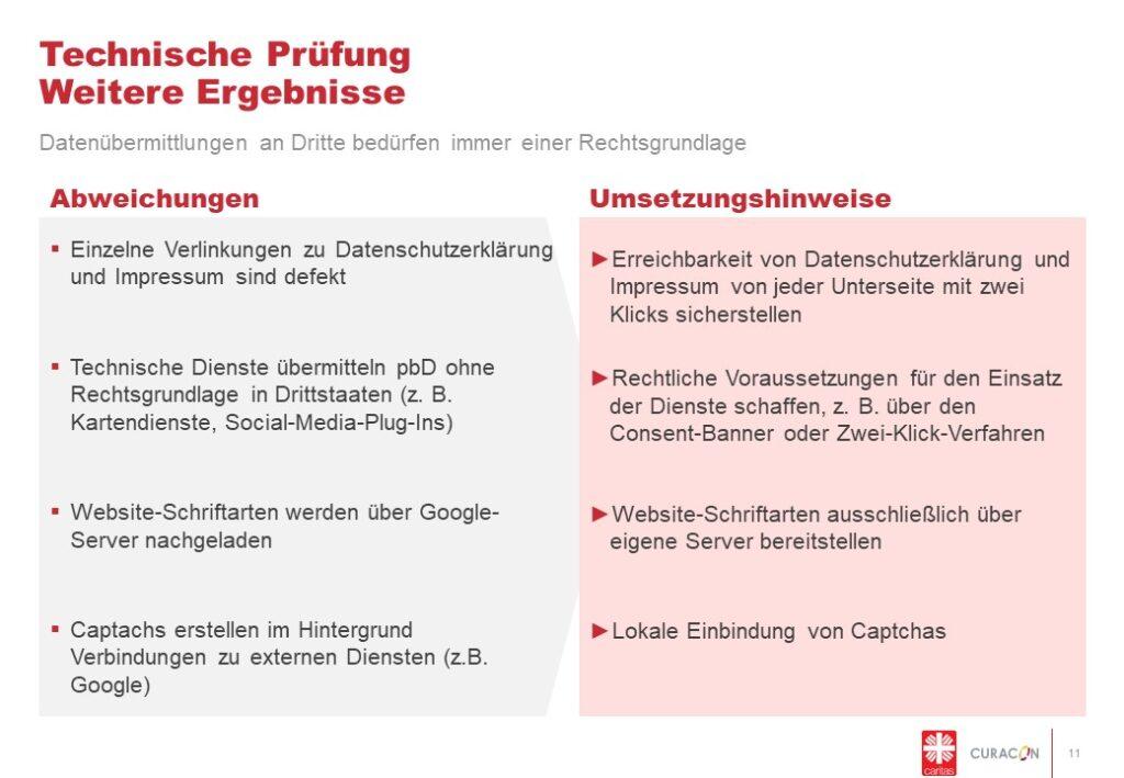 Abweichungen und Umsetzungshinweise hinsichtlich der technischen Gestaltung auf Webseiten.