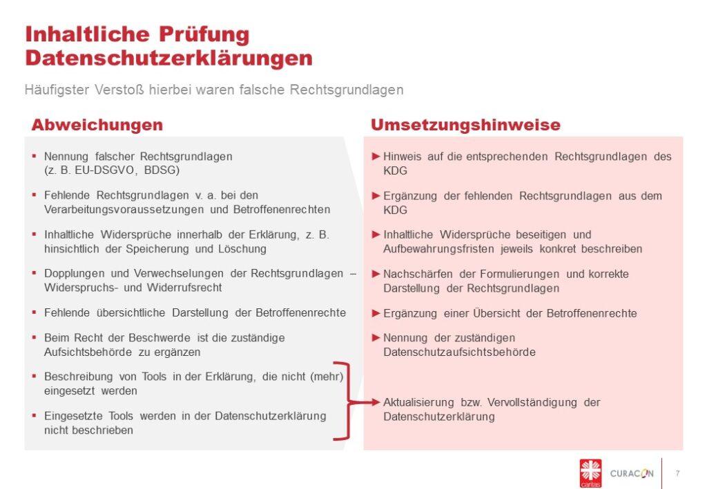 Abweichungen und Umsetzungshinweise bei der inhaltlichen, datenschutzrechtlichen Gestaltung der Webseite.
