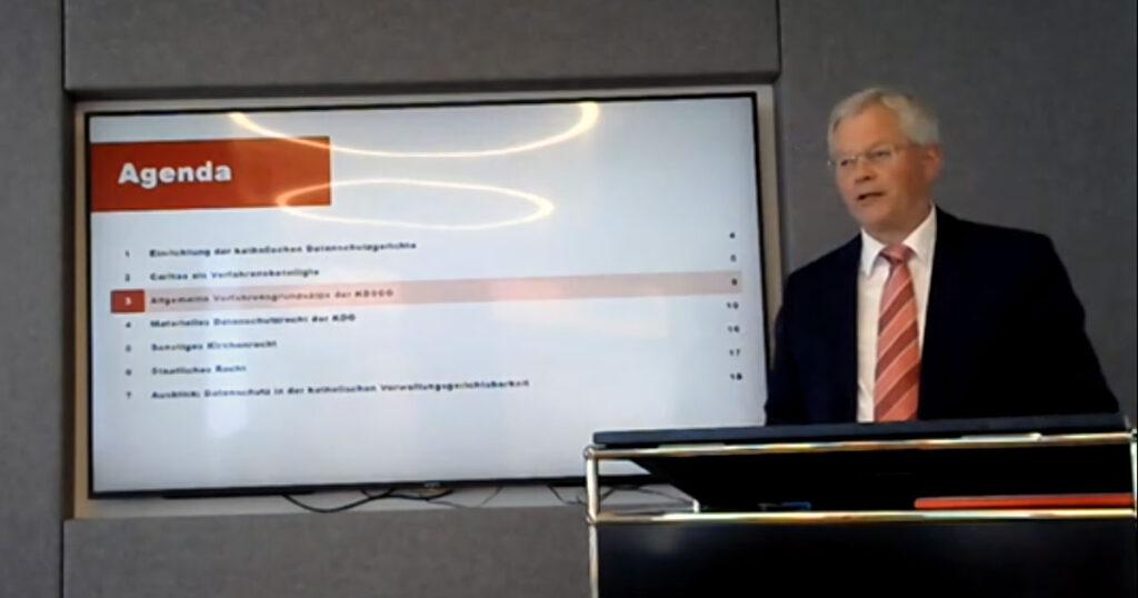 Bernhard Fessler bei der Tagung »Drei Jahre KDG« (Screenshot)